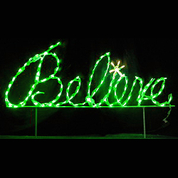 Believe Green Cursive LED Lighted Outdoor Christmas Sign Decoration