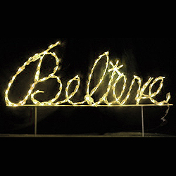 Believe Warm White Cursive LED Lighted Outdoor Christmas Sign Decoration