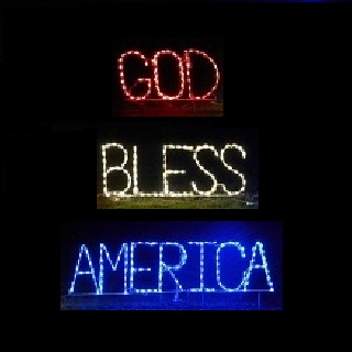 Patriotic God Bless America Outdoor LED Lighted Lawn Decoration