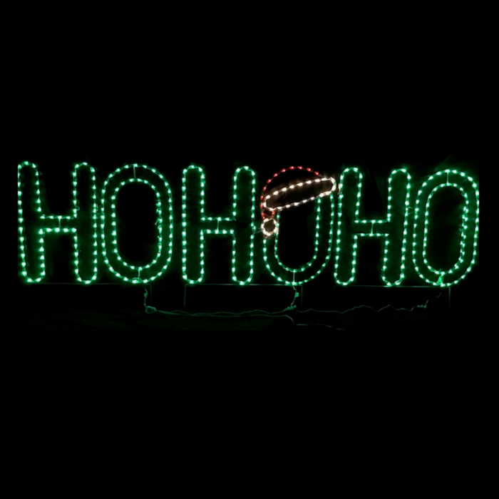HO HO HO with Santa Hat Christmas Lighted Outdoor Decoration- LED M5 Mini Lights