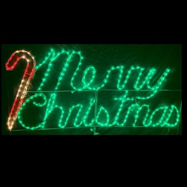 Merry Christmas with Candy Cane LED Lighted Outdoor Decoration
