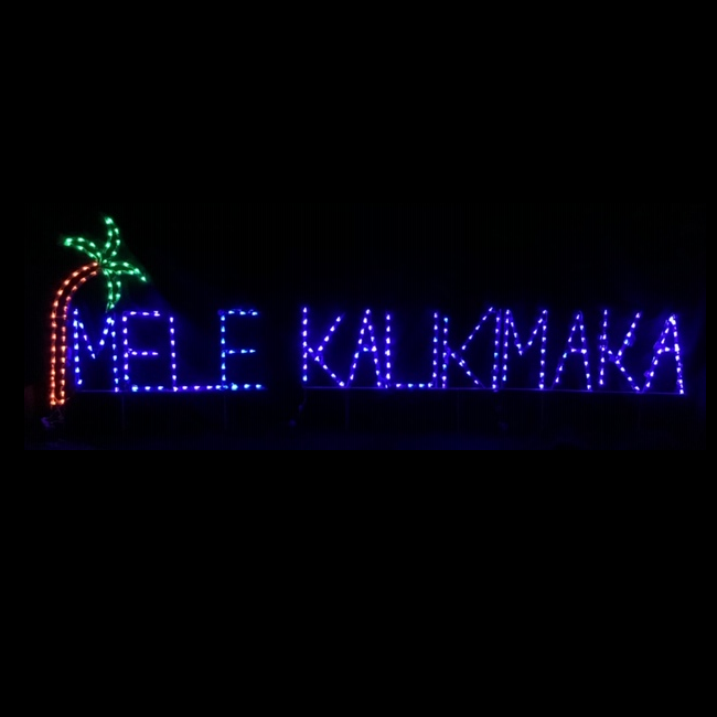 Mele Kalikimaka with Palm Tree LED Lighted Outdoor Lawn Decoration