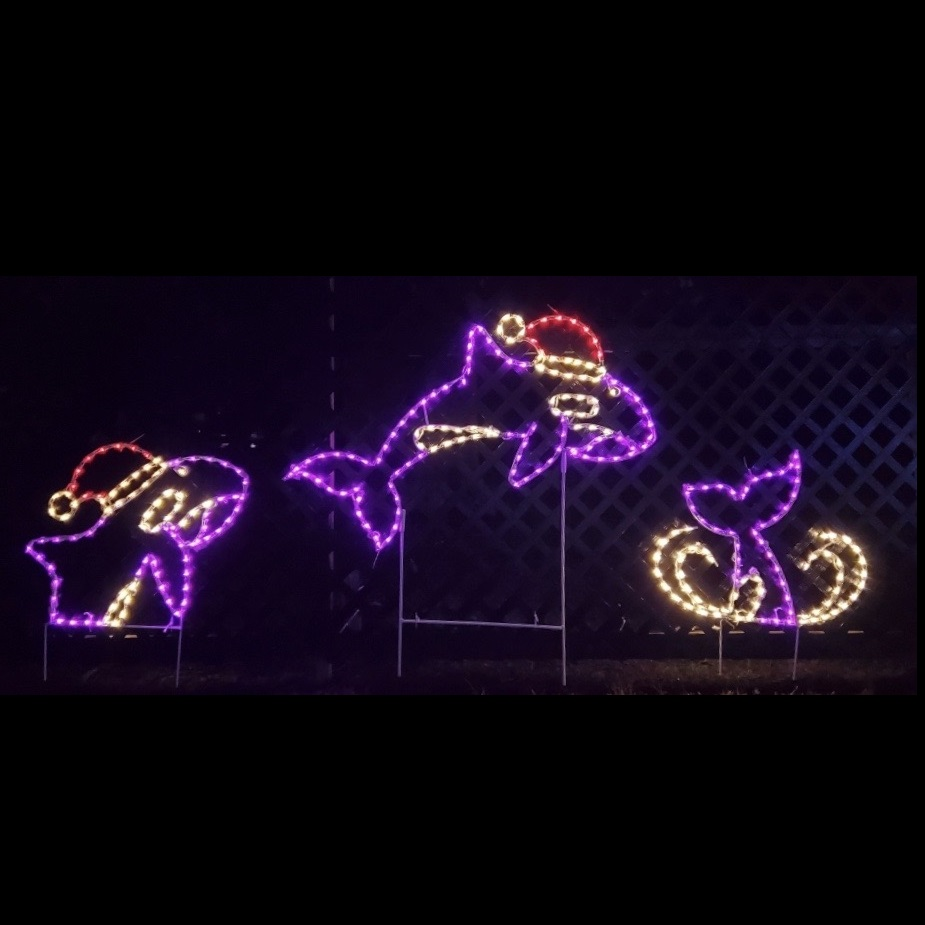 Orca Whales Jumping Animated LED Lighted Outdoor Marine Decoration