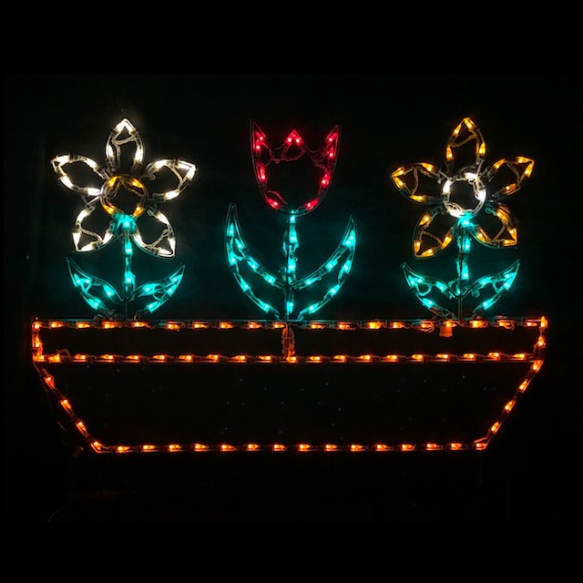 Flower Pot LED Lighted Outdoor Spring Floral Decoration