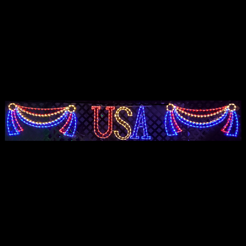 USA Bunting LED Lighted Outdoor Hanging Decoration