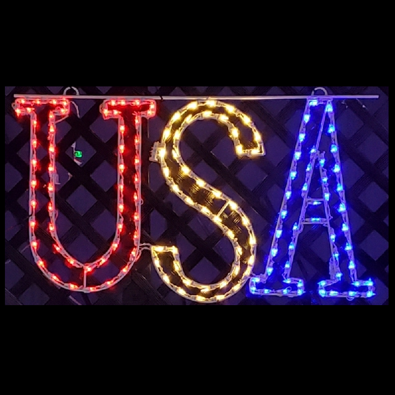 USA Hanging LED Lighted Outdoor Patriotic Decoration