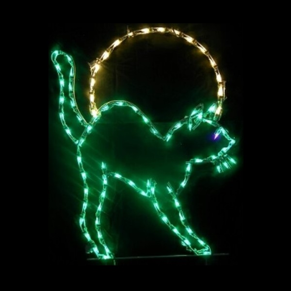 Cat With Moon Silhouette LED Lighted Lawn Decoration
