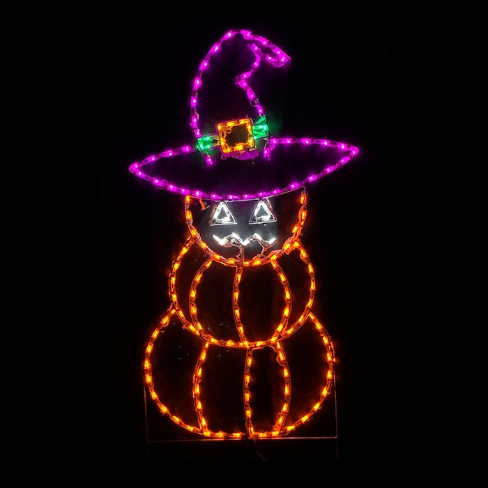 Stacked Pumpkins with Witchs Hat LED Lighted Outdoor Halloween Decoration