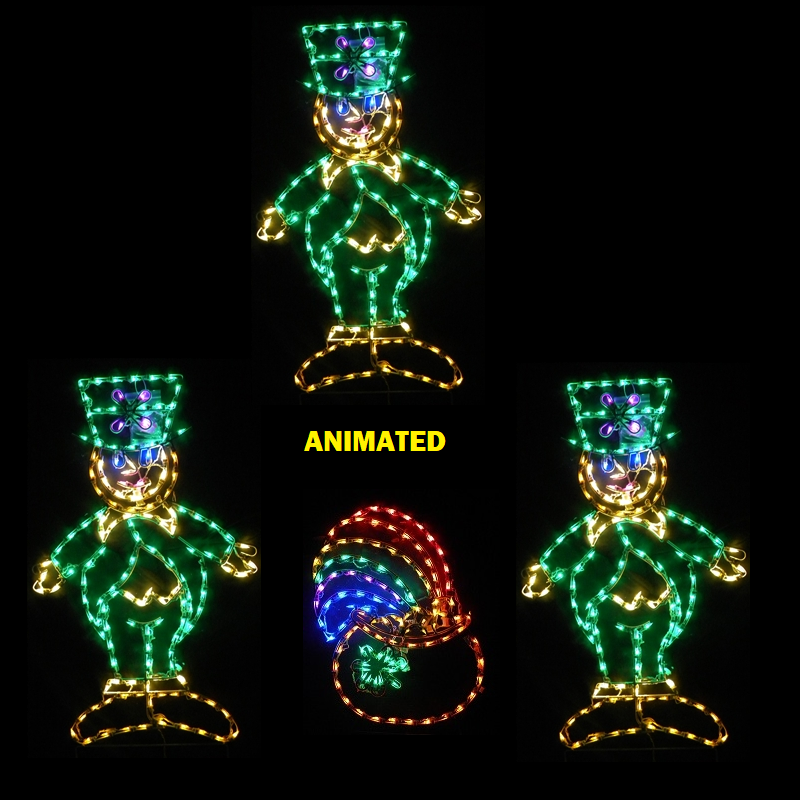 Saint Patricks Day 3 Dancing Leprechauns Around A Pot Of Gold LED Lighted Decoration