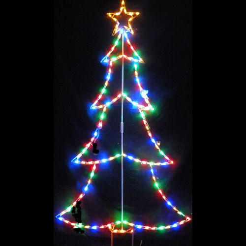 Christmas Tree Outline Pick Your Color LED Lighted Outdoor Christmas Decoration