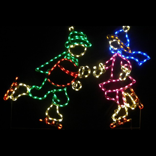 Ice Skating Boy and Girl LED Lighted Outdoor Lawn Decoration