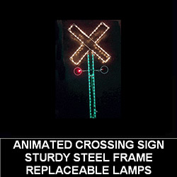 Railroad Crossing Sign LED Lighted Outdoor Christmas Decoration