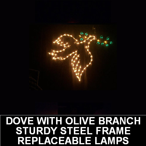 Dove with Olive Branch LED Lighted Outdoor Lawn Decoration