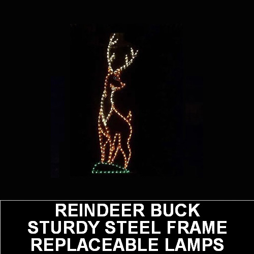 Reindeer Buck LED Lighted Outdoor Lawn Decoration