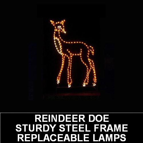 Reindeer Doe LED Lighted Outdoor Lawn Decoration
