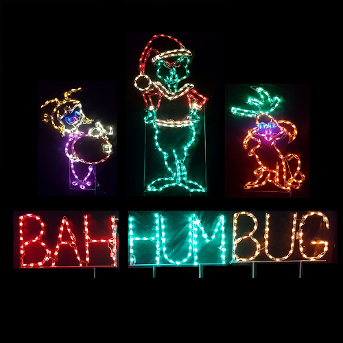 Holiday Green Monster Scene LED Lighted Outdoor Christmas Decoration