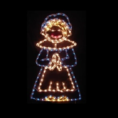Harvest Pilgrim Girl LED Lighted Outdoor Thanksgiving Decoration