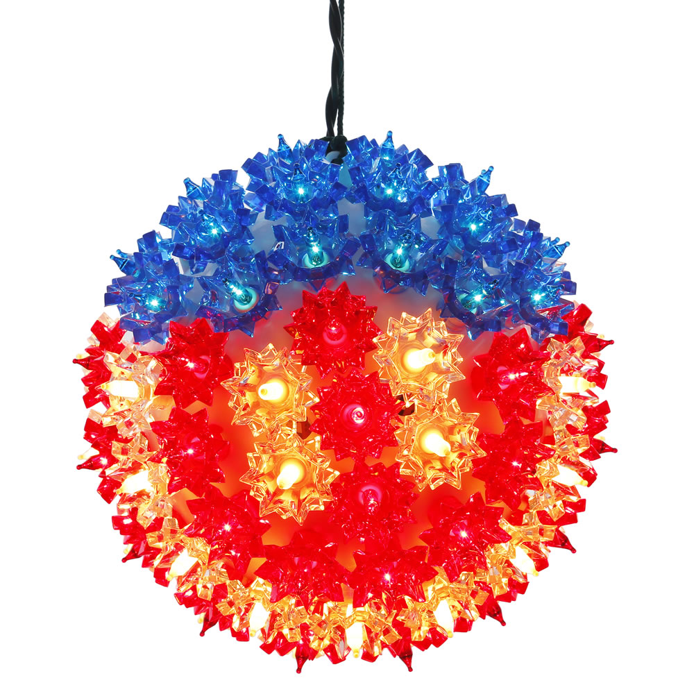 7.5 Inch Lighted Starlight Sphere - 100 LED Red White And Blue Lights
