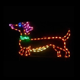 dachshund dog with bow female led lighted outdoor christmas decoration