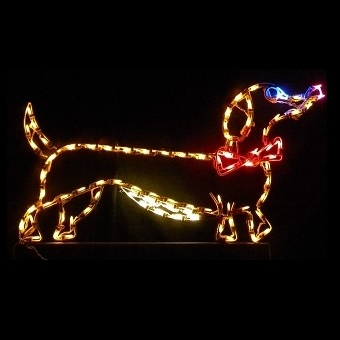 Dachshund Dog with Bow Tie Male LED Lighted Outdoor Christmas Decoration