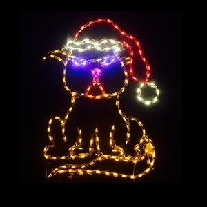 Grumpy Scrooge Kitty LED Lighted Outdoor Christmas Lawn Decoration