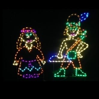 Harvest Native American Boy and Girl LED Lighted Outdoor Thanksgiving Decoration