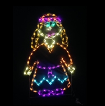 Harvest Native American Girl LED Lighted Outdoor Thanksgiving Decoration