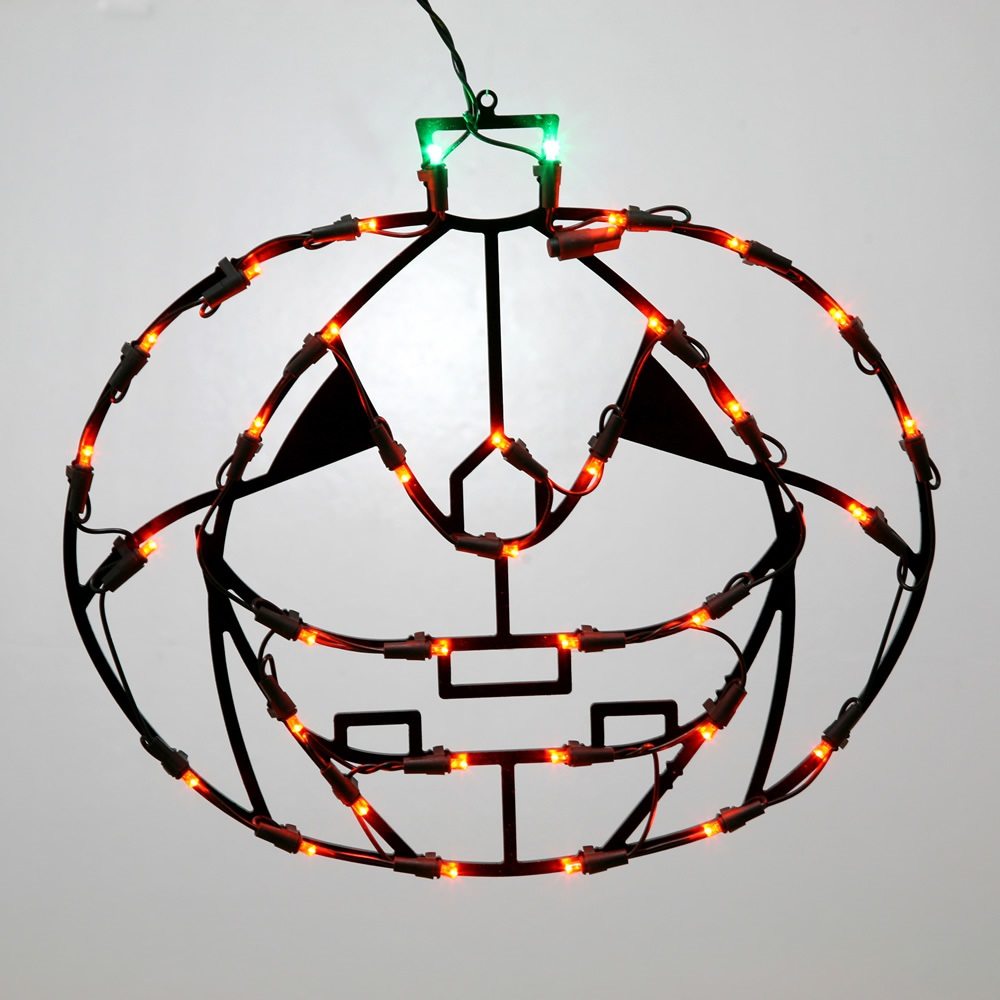 Jack O-Lantern Pumpkin Lighted Outdoor Halloween Decoration - 50 Incandescent C7 Multi Color Lights