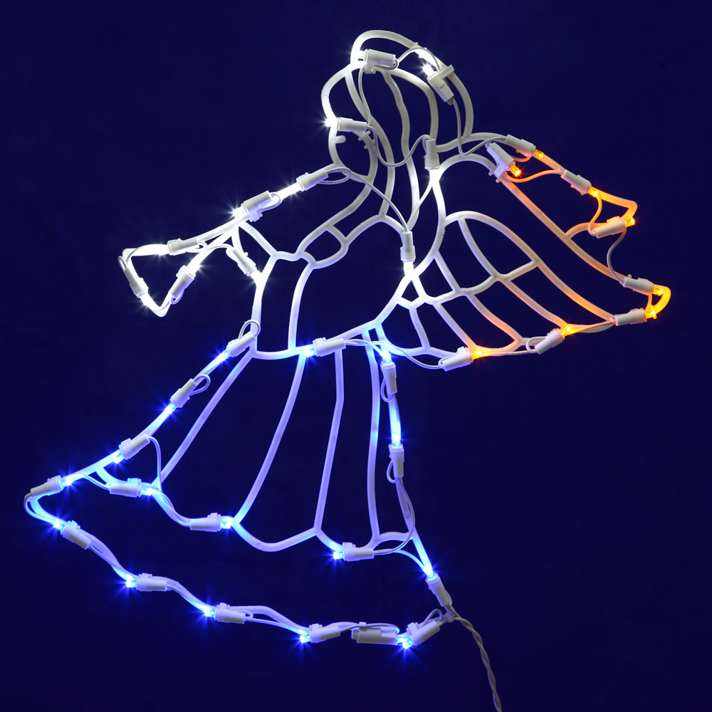 48 inch angel with trumpet c7 incandescent lighted outdoor christmas decoration - Lighted Christmas Angel Yard Decor