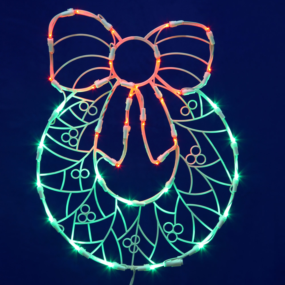 wreath with bow wire frame decoration c7 incandescent lights - Wire Frame Outdoor Christmas Decorations