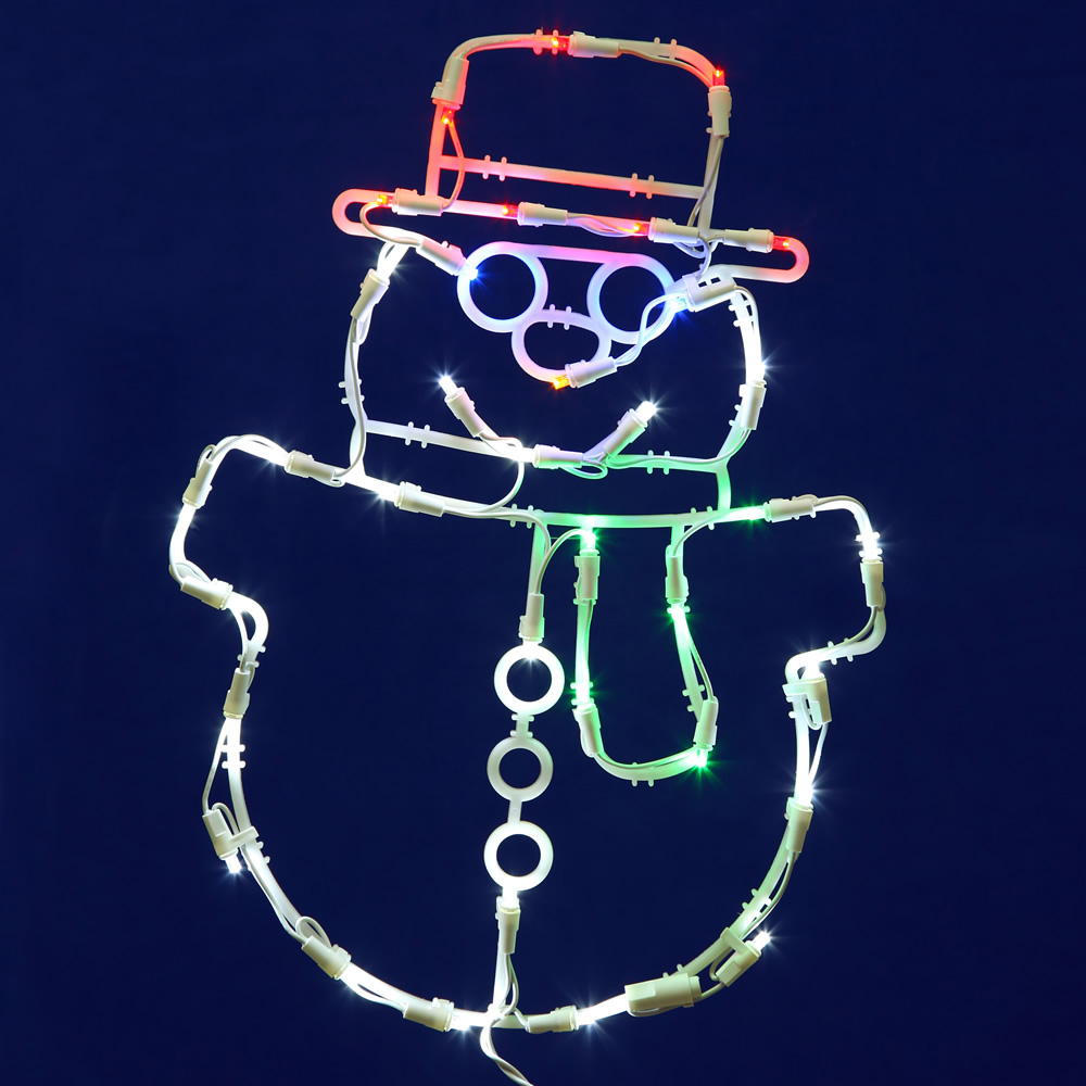Snowman Lighted Window Decoration - 35 LED 5MM Wide Angle Polka-Dot Lights