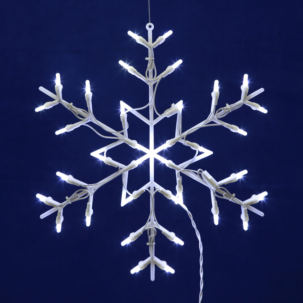 Snowflake Lighted Window Decoration - 35 LED 5MM Wide Angle Polka-Dot Lights