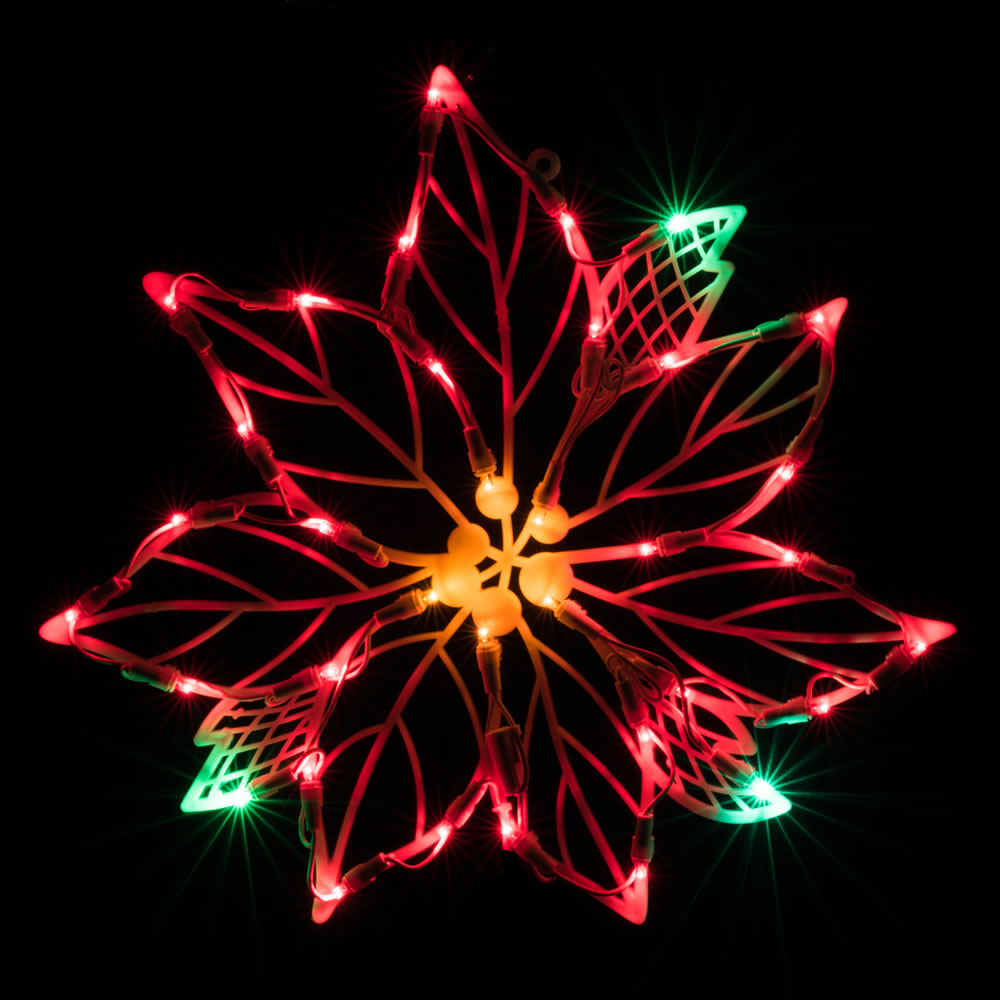 Poinsettia Lighted Window Decoration - 35 LED 5MM Wide Angle Polka-Dot Lights